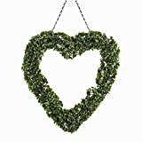Topiary Heart Wreath | Front Door Accessories | Garden Decoration | With Hanging Chain | For Outdoors and Indoors | Wedding Decor | Pukkr