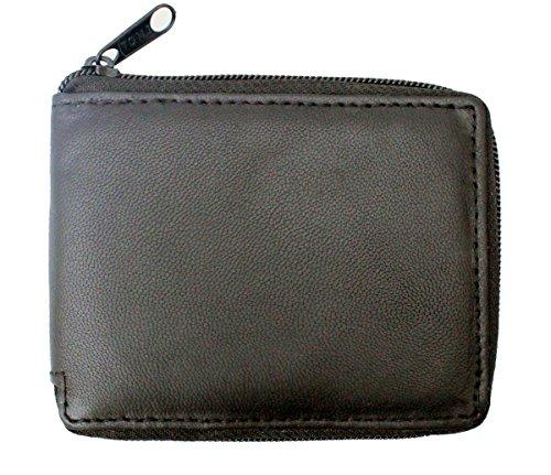 RAS WALLETS Portafoglio da uomo in vera pelle morbida, con cerniera e custodie per documenti e carte di credito, con portamonete dotato di cerniera