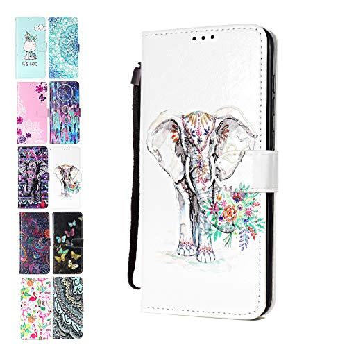 Ancase Lederhülle kompatibel für Samsung Galaxy A10 / M10 Hülle Elefant Blume Muster Handyhülle Flip Hülle Cover Schutzhülle mit Kartenfach Ledertasche für Mädchen Damen