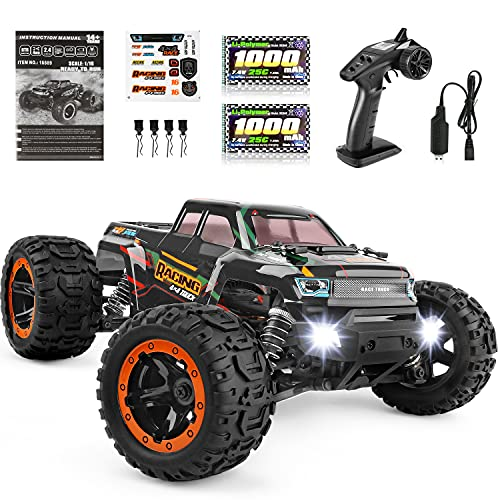 Remote Control Car 16889, 1:16 Scale 2.4Ghz RC Cars 4x4 Off Road Trucks, Waterproof RTR RC Monster Truck 36KM/H, Remote Controlled Toys for Kids and Adults with 2 Batteries 35+ mins Play