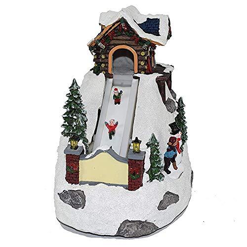 Natale Villaggio Scenario Natalizio Carillon Montagna con Pista da Sci in Movimento giostra 19x19.5x13 cm Negozio Scenario Paesaggio Natalizio Parco Giochi Carillon con luci Musicale Giostrina