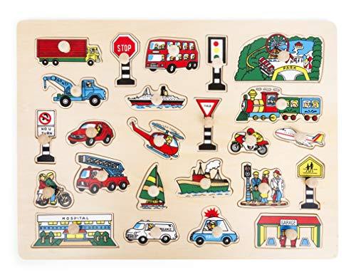 Small Foot Poser Moyens de Transport en Bois, certifiés FSC 100%, 24 pièces de Puzzle colorées Jouets, 11226, Multicolore