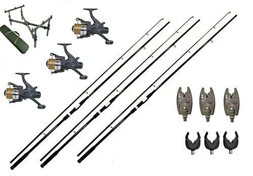 Premium Karpfen Angelset 3 Karpfenruten 3,60m , 3 Freilaufrollen NGT EG60 , 3 Bissanzeiger , Deluxe Cross Rod Pod