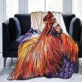 Colorate gallo arte pittura di pollo flanella in pile coperta coperta super morbida e calda peluche fuzzy accoglienti coperte da letto di lusso 40x50 pollici, 102x127 cm