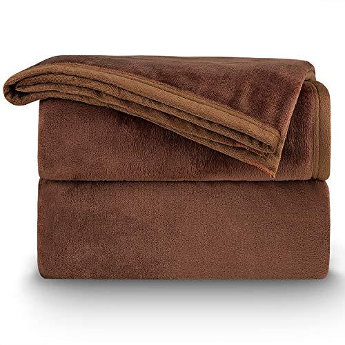 NEUFLY Decke, Flannel Blanket Wohndecke 150 x 200 cm Couchdecke Warme Kuscheldecke für Bett und Sofa - Dunkelbraun