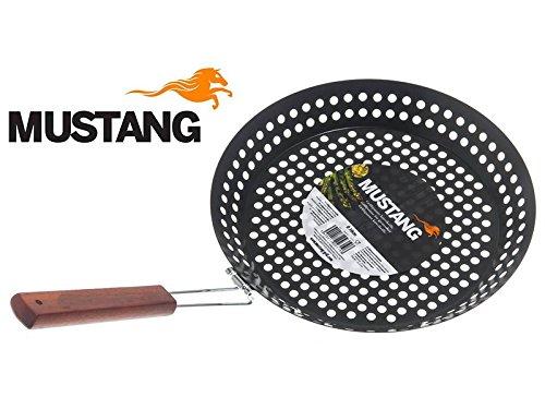 Mustang Grillpfanne Ø 30,5 cm mit klappbarem Holzgriff, Gemüsepfanne, Grill Wok