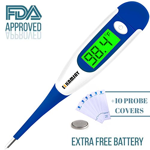 Digital Medical Thermometer Baby Kids and Adult, Accurate and Fast Readings in 10 Seconds - Oral Underarm and Rectal Thermometer for Children Babies Adults Pets Veterinary (termometro) (Blue)