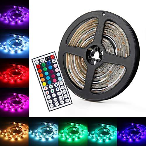 UBEGOOD LED Streifen 5M, LED Strip RGB LED Licht Streifen SMD 5050 Dimmbare LEDs Strip mit Netzteil 44-Tasten IR Fernbedienung selbstklebend Kit für Innen außen Beleuchtung Deko