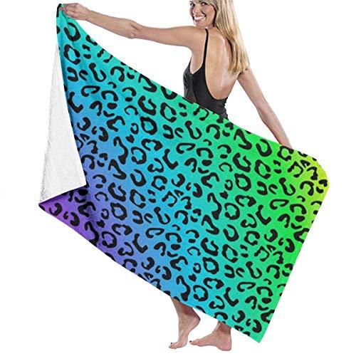 FETEAM Toallas de baño con Estampado de Piel de Leopardo arcoíris, la Mejor Toalla de baño, Toallas de Playa para Mujer, Conjunto de Accesorios de baño