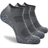 CWVLC Men's No-Show Running Socks 3-pairs Men Ankle Low Cut Compression Athletic Socks 16-23 mmhg Hiking Gym Arch-Support Anti-Blister Moisture-Wicking, Grey, XL (12-13 Men)