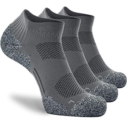 CWVLC Women s Compression Athletic Socks 3-pairs Women Ankle Running Socks Nurses No Show Pro Arch Support Blister Resistant Moisture Wicking Short Low Cut, Grey, M (6.5-9.5 Women 5.5-8.5 Men)