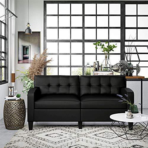 Dorel Living Zakari Couch, Modern Living Room, Black Faux...