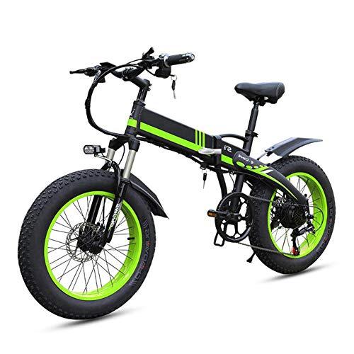 TANCEQI 350W Eléctrica Plegable Bicicletas, 7 Velocidad Variable 20 Pulgadas Fat Tire Camino De La Bicicleta De La Bici, E-Bike Bicicleta De Montaña De Plegable Adulta Mujer/Hombre,Verde