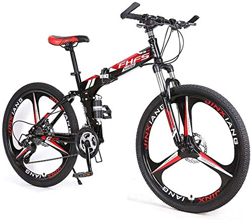 HCMNME Durable Bicycle, Lightweight Foldable Compact Bike, Foldable Bike 24 Inch Bike for Adults, Folding Speed Mountain Bike - Adult Car Student Folding Bicycle Damping Bicycle (Color : Red, Si