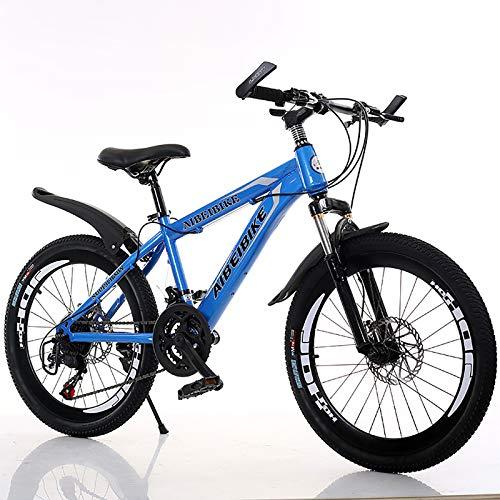 Velocidad Variable Sport Bike,Acero De Alto Carbono,20''22''24''26''Bicicleta,con Guardabarros Frenos De Doble Disco,Suspensión Completa,Bicicleta De Montaña para Hombres Y Mujeres-Azul 20inch