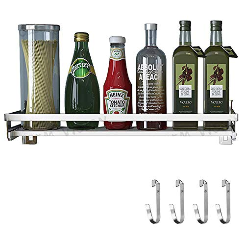 Eastore Life Spice Rack Organizer with 4 Hooks - 304 Stainless Steel Storage Shelf for Kitchen Bathroom Wall Mounted Seasoning Shelf Easy to Assemble 157-Inch