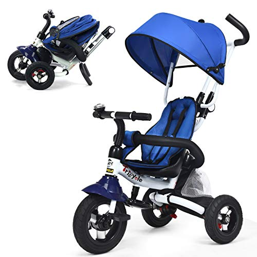 COSTWAY Foldable Baby Tricycle, 6 in 1 Kids First Bike Stroller with Adjustable & Removable Canopy, Parent Handle, Folding Pedal, Double Brake Push Trike for 1-5 Year Old (Blue)