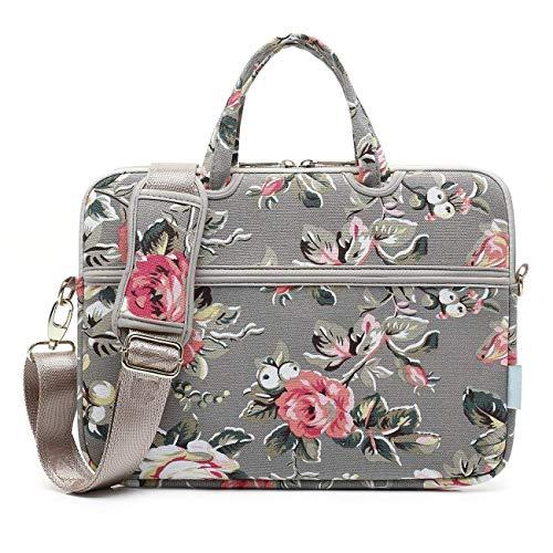 Laptop Schoudertas Canvas Stof Rose Patroon Messenger Handtas Case Sleeve Compatibel Voor 12-15 Inch Nieuwe Notebook Computer Bag