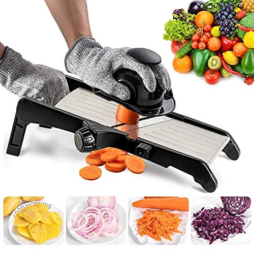 Mandoline Slicer for Food and Vegetables -VEKAYA Adjustable Kitchen Vegetable Slicer For Potatoes and Onion| French Fry Slicer, Vegetable Chopper and Cutter with Waffle Maker and Gloves (Black)