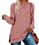 QAKEHU Blusa para mujer, de manga larga, cuello redondo, informal, holgada, para otoño M-rosa. L