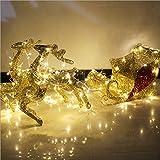 Decoraciones navideñas de renos con purpurina, trineo de Santa y renos al aire libre, luces navideñas de renos al aire libre, kit de trineo de Santa, adorno navideño 2020 para interiores y exteriores