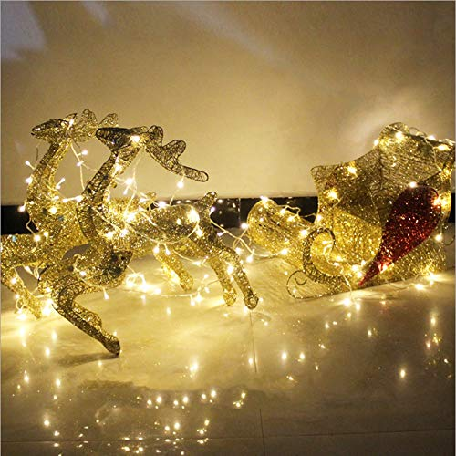 Decoraciones navideñas de renos con purpurina, trineo de Santa y renos al aire libre, luces navideñas de renos al aire libre, kit de trineo de Santa, adorno navideño 2020 para interiores y exteriores ✅