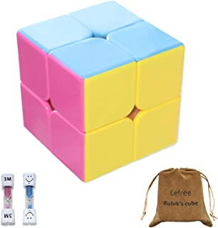 Lefree 2x2 Rubik's Cube for All Ages Sticklerless Speed Cube with Two Hourglasses and Smooth Surface Vivid Colors, Best Puzzle Magic Toy for Kids
