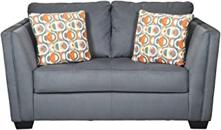 Signature Design by Ashley - Filone Contemporary Loveseat w/ 2 Pillows, Steel Gray