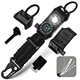 Men's Keychain   11-in-1 LED Carabiner Lanyard Key Chain Fires Starter for Camping, Fishing, Hunting & Outdoor Emergencies Multipurpose Survival Tool Emergency Whistle, Flint Rod, Cutting Tool