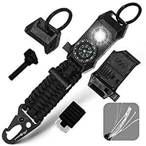 Men's Keychain | 11-in-1 LED Carabiner Lanyard Key Chain Fires Starter for Camping, Fishing, Hunting & Outdoor Emergencies Multipurpose Survival Tool Emergency Whistle, Flint Rod, Cutting Tool