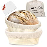 Banneton Bread Proofing Basket Set, 10 Inch Oval & 10 Inch Round Banneton, Natural Rattan Sourdough Proofing Bowl Gift for Bakers, Includes Linen Liner, Plastic Scraper