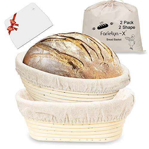 2 Sets Round & Oval Banneton Bread Proofing Basket, Farielyn-X 10 Inch Baking Bowl + Dough Scraper + Cloth Liner , Natural Rattan Starter Jar Proofing Box Gift for Baker
