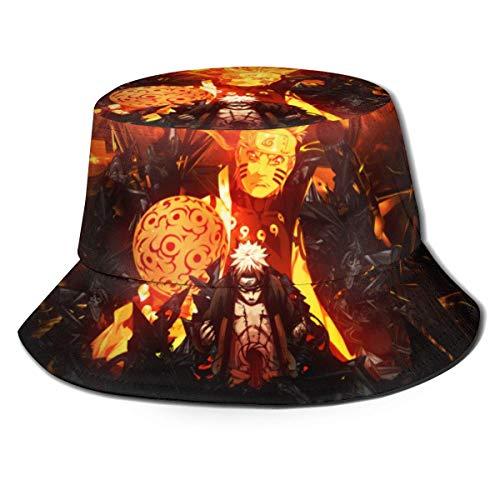 Volver al Polvo Na-ruto Uzumaki Na-ruto Sombrero de Pescador Sombreros de Pescador Sombreros de Pescador de Doble Cara con Estampado Moda de Verano Protector Solar Visera Plegable Gorra Deportiva -9H