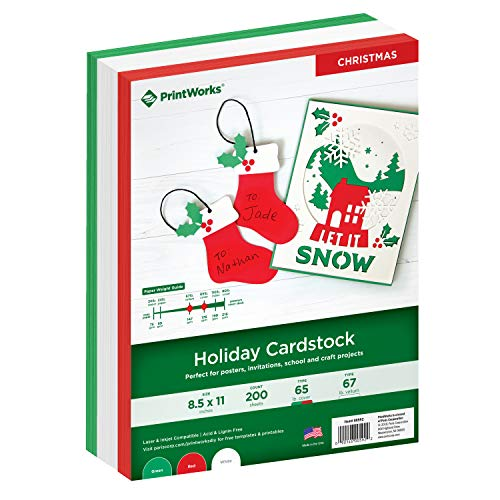 Printworks Holiday Cardstock, 67lb Heavyweight Cardstock, Includes Red, Green, and White Cardstock, 200 sheets total, Perfect for Christmas Cards, Gift Tags, Party Announcements & Crafts (00592)
