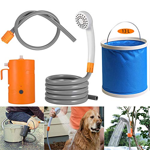 LUKUCEA Portable Outdoor Shower Kit, Camping Shower USB Rechargeable 4400mAh Battery Powered Shower Pump, Max 7L Water Per Minute IPX7 Waterproof with Expandable 3 gallons Bucket