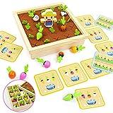 Juguetes de Madera 2 En 1 Montessori Juegos de Mesa Plantar Zanahorias y Memoria Juegos Educativos Regalos para Niños Niñas 3 4 5 6 Años