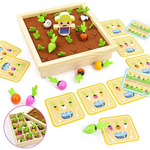 Juegos de Madera 2 En 1 Juguetes Montessori Juguetes Bebe Plantar Zanahorias y Memoria Juegos Educativos Regalos para Niños Niñas 3 4 5 6 Años
