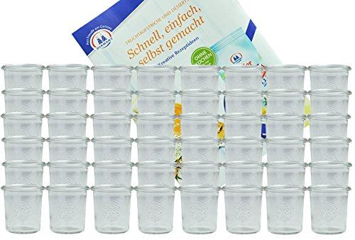 MamboCat 48er Set Weckgläser Sturzglas 140 ml I Original Weck Sturzglas Dessertglas I Einweckgläser für Kuchen Gelees UVM I Sturzgläser ohne Deckel inkl. Diamant-Zucker Gelierzauber Rezeptheft