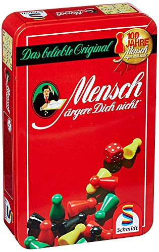 Schmidt Spiele 51204 Mensch ärgere Dich Nicht, Bring Mich mit Spiel in der Metalldose, bunt