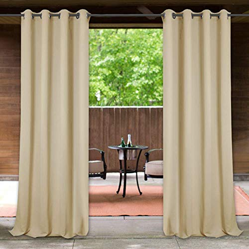 StangH Outdoor Curtains Waterproof - Thick Fabric Light Blocking Blackout Patio Drapes with Grommet Top Thermal Insulated Drapes for Lanai/Porch/Open-air Dining, Cream Beige, W52 x L84, 1 Panel