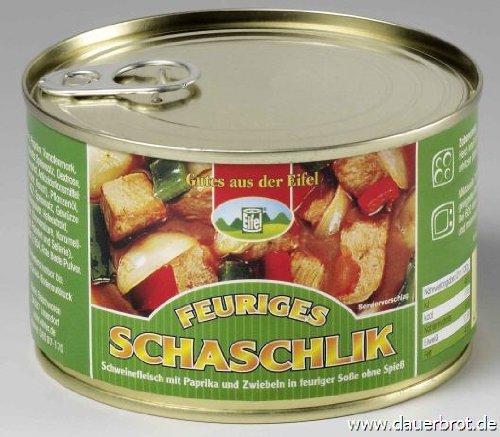 Schaschlik in Dose, 300g, Schweinefleisch mit Paprika und Zwiebeln in feuriger Soße, ohne Spieß.