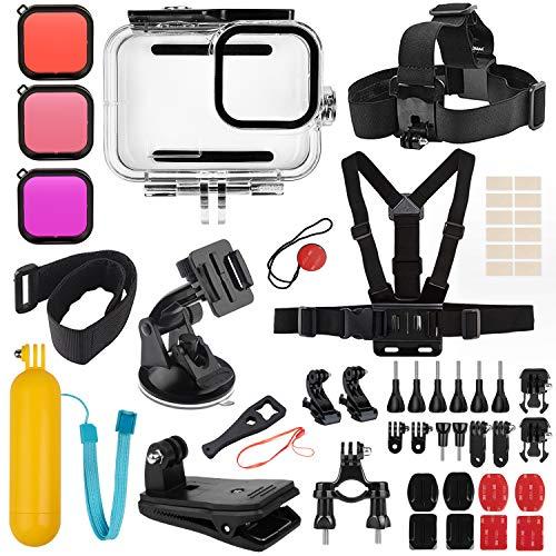 Deyard Kit de Accesorios para GoPro Hero 9 Black, Juego de Accesorios para Hero 9 Black, Carcasa Impermeable + Funda de Goma + 3 Filtros Aptos para GoPro Hero 9