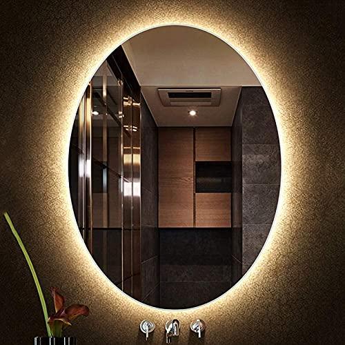 Espejo de Baño con Luces Espejo de Baño LED Espejo de Pared Iluminado Espejo Antivaho Ovalado Espejo Delgado Grande, Adecuado para Inodoro/Hotel/Peluquería