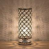 lámpara de mesa moderna, Lámpara de mesilla luz de noche cristal con marco de metal Lámpara de mesa elegante para dormitorio, sala de estar, comedor, plata