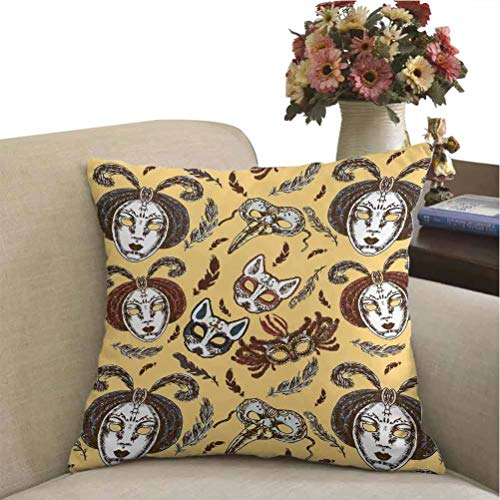 Silk Pillowcase Masquerade for Body Pillow Venetian Style Paper Mache Face Mask with Feathers Dance Event Theme 18 x 18 inch Mustard Brown White