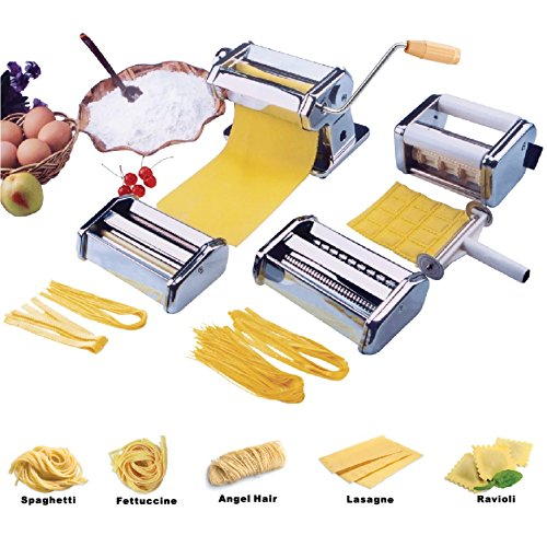 Vivo Heavy Duty 5 in 1 Stainless Steel Professional Fresh Pasta Lasagne Spaghetti Tagliatelle Ravioli Maker Machine Cutter with 3 Cut Press Blade Settings and Table Top Clamp, Chrome