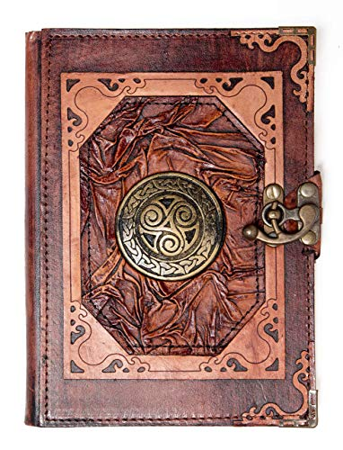 Genuine Brown Leather Bound Journal Celtic Knot Triskele Pendant Notebook Notepad Diary (Large)