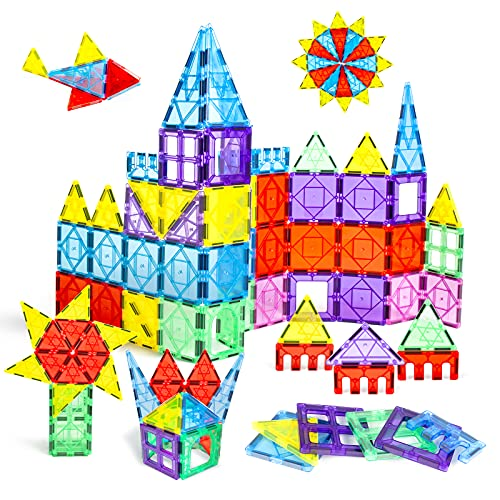 Magnetic Tiles for 3 Year Old Boys and Girls Kids Magnet Toys Clear Colors 3D Magnets Building...