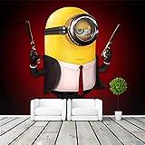 Spy Minions Foto Fototapete 3D Cartoon Wandtapete Funny 007 Fototapete Jungen Kinder Mädchen Raumdekoration Schlafzimmer Art Wand Dekorationation 150 * 105Cm