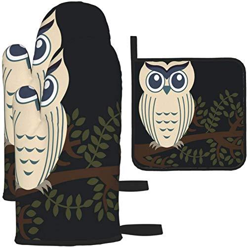 MODORSAN Einzigartige tierische Eule Vogel- und Baumofenhandschuhe und Topflappen 1640 Stück Set Küchenofen Handschuh- und Topflappen rutschfest zum Kochen Backen Grillen - als Farbe in Einheitsgröße